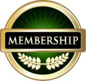 Icône d'emblème de label de vert d'adhésion illustration stock