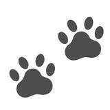 Icône d'empreinte de pas de chien d'isolement sur le fond blanc ; Illustration de vecteur de pattes illustration libre de droits