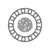 Icône d'empreinte digitale avec le concept de blockchain Future technologie illustration libre de droits