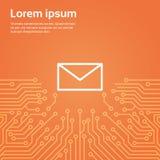 Icône d'enveloppe de message au-dessus d'ordinateur Chip Moterboard Background Banner Images libres de droits