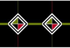 Icône d'enveloppe : diamants noirs et blancs avec les triangles noires, olives et rouges photo stock