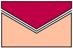 Icône d'enveloppe : rouge et rose de framboise avec le pli noir et blanc de gomme et les frontières blanches images libres de droits