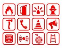 Icône d'extincteur Sécurité incendie plate - pour des actions illustration de vecteur