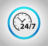 24/7 icône d'horloge autour de bouton poussoir bleu illustration stock