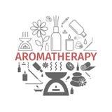 Icône d'huile essentielle Huiles d'Aromatherapy réglées Vecteur Photographie stock