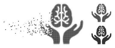 Icône d'image tramée de Brain Care Hands Damaged Pixel Photo libre de droits
