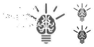 Icône d'image tramée de Brain Idea Bulb Decomposed Pixel Image libre de droits