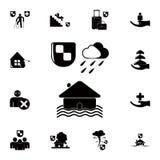 icône d'inondation de maison Ensemble détaillé d'icônes d'assurance Signe de la meilleure qualité de conception graphique de qual Photos stock