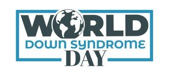 Icône d'isolement par jour de syndrome de Down du monde de planète de la terre illustration libre de droits