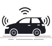 Icône d'isolement par voiture autonome illustration stock