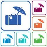Icône d'isolement par voyage de valise Photos libres de droits