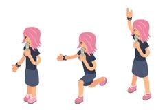 Icône 3d isométrique de fille de chanteur d'interprète de soliste féminin moderne populaire de femme chanter à hard rock de micro illustration libre de droits