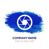 Icône d'objectif de caméra - fond bleu d'aquarelle illustration stock