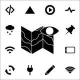 icône d'oeil et de carte ensemble universel d'icônes de Web pour le Web et le mobile illustration libre de droits