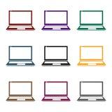 Icône d'ordinateur portable dans le style noir d'isolement sur le fond blanc Illustration d'ordinateur personnel de vecteur d'act Photos stock
