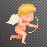 Icône 3d Valentine Day Design Vector Illustrator réaliste de personnage de dessin animé d'Angel Cherub Baby Boy Child illustration stock