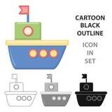 Icône de bande dessinée de bateau Illustration pour le Web et la conception mobile Images stock
