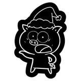 ic?ne de bande dessin?e d'un chapeau de port de cri de Santa de porc illustration libre de droits