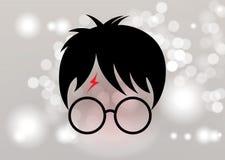Icône de bande dessinée de Harry Potter, vecteur minimal de style illustration stock