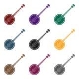 Icône de banjo dans le style noir d'isolement sur le fond blanc Illustration de vecteur d'actions de symbole d'instruments de mus Images stock