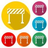 Icône de barrière, icône de barrages de route, icône de couleur avec la longue ombre Photo libre de droits
