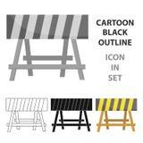 Icône de barricade de construction dans le style de bande dessinée d'isolement sur le fond blanc Vecteur d'actions de symbole de  Photos stock