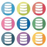 Icône de base de données réglée - 9type illustration stock