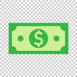 Icône de billet de banque de devise du dollar dans le style plat Vecteur d'argent liquide du dollar illustration libre de droits