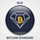 Icône de blockchain de cryptocurrency de Bitcoin Diamond Coin Argent virtuel électronique, d'Internet ou symbole de cryptocoin, l illustration libre de droits