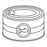 Icône de boîte en fer blanc de poissons, style d'ensemble illustration libre de droits
