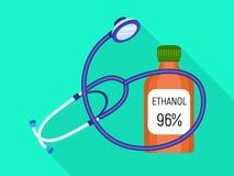 Icône de bouteille d'éthanol de stéthoscope, style plat illustration stock