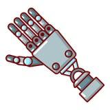 Icône de bras de robot, style de bande dessinée