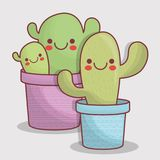 Icône de cactus de Kawaii Photo stock