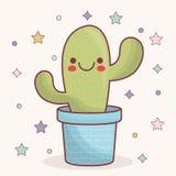 Icône de cactus de Kawaii Images stock