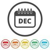Icône de calendrier de décembre, signe de calendrier, symbole de mois de décembre, 6 couleurs incluses illustration de vecteur