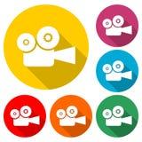 Icône de caméra de cinéma ou logo, ensemble de couleur avec la longue ombre illustration stock