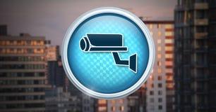 Icône de caméra de sécurité dans la ville Image libre de droits
