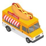Icône de camion de hot-dog, style isométrique illustration stock