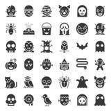 Icône de caractère de Halloween réglée dans la conception solide illustration libre de droits