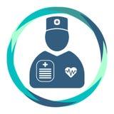 Icône de cardiologue avec le diagramme et le presse-papiers de coeur illustration stock