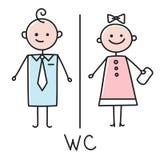 Icône de carte de travail Icône de plat de porte de toilette Plat de salle de bains Signe de carte de travail d'hommes et de femm illustration de vecteur