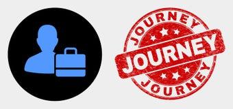 Icône de cas d'utilisateur de vecteur et joint rayé de timbre de voyage illustration libre de droits