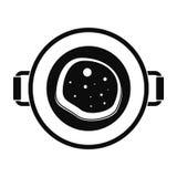 Icône de casserole de nourriture de friture, style simple photo libre de droits