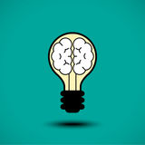 Icône de cerveau d'ampoule Photos libres de droits