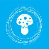 Icône de champignon d'agaric de mouche sur un fond bleu avec les cercles abstraits autour de et l'endroit pour votre texte Photos libres de droits