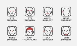 Icône de chirurgie/cheveux de bouche de menton de nez oreille d'oeil photos stock