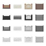 Icône de clôture, de palissade, de pâlissement et autre de Web dans le style de bande dessinée Barrière, support, envergure, icôn Images libres de droits