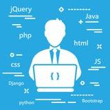 Icône de codeur avec des langages de programmation pour le développement de Web dans le tre illustration stock
