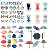 Icône de collection des accessoires de mode d\u0027été dans le style plat  Photographie stock