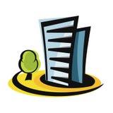 Icône de construction de bâtiments et logo d'emblème illustration de vecteur